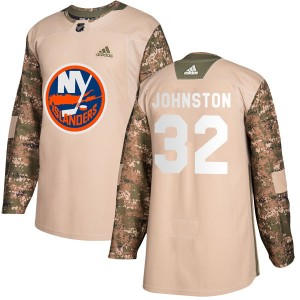 Adidas Ross Johnston New York Islanders Men's Authentic Veterans Day Practice Jersey - Camo