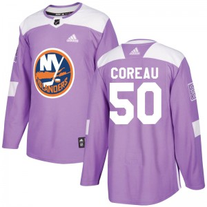 Adidas Jared Coreau New York Islanders Youth Authentic Fights Cancer Practice Jersey - Purple