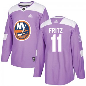 Adidas Tanner Fritz New York Islanders Youth Authentic Fights Cancer Practice Jersey - Purple