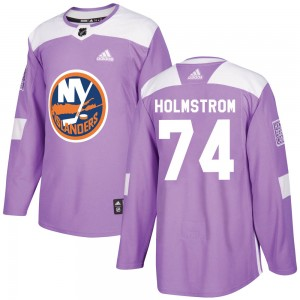 Adidas Simon Holmstrom New York Islanders Youth Authentic Fights Cancer Practice Jersey - Purple