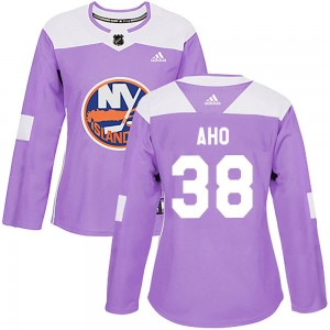 Adidas Sebastian Aho New York Islanders Women's Authentic ized Fights Cancer Practice Jersey - Purple