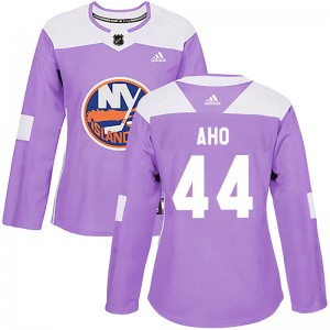 Adidas Sebastian Aho New York Islanders Women's Authentic Fights Cancer Practice Jersey - Purple