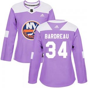 Adidas Cole Bardreau New York Islanders Women's Authentic Fights Cancer Practice Jersey - Purple