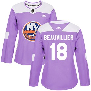 Adidas Anthony Beauvillier New York Islanders Women's Authentic Fights Cancer Practice Jersey - Purple
