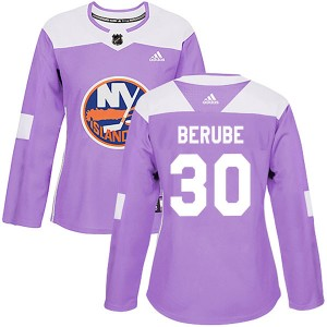 Adidas Jean-Francois Berube New York Islanders Women's Authentic Fights Cancer Practice Jersey - Purple
