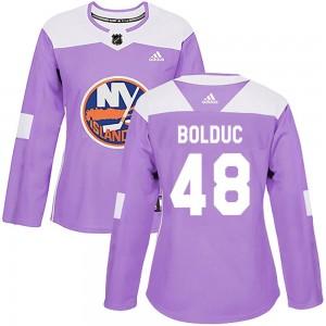 Adidas Samuel Bolduc New York Islanders Women's Authentic Fights Cancer Practice Jersey - Purple