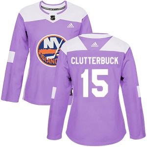Adidas Cal Clutterbuck New York Islanders Women's Authentic Fights Cancer Practice Jersey - Purple