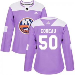 Adidas Jared Coreau New York Islanders Women's Authentic Fights Cancer Practice Jersey - Purple