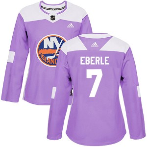 Adidas Jordan Eberle New York Islanders Women's Authentic Fights Cancer Practice Jersey - Purple