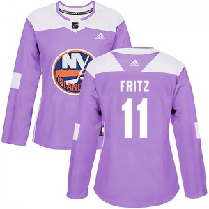 Adidas Tanner Fritz New York Islanders Women's Authentic Fights Cancer Practice Jersey - Purple