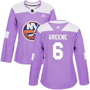 Adidas Andy Greene New York Islanders Women's Authentic Fights Cancer Practice Jersey - Purple
