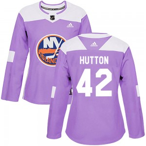 Adidas Grant Hutton New York Islanders Women's Authentic Fights Cancer Practice Jersey - Purple