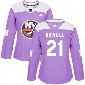 Adidas Otto Koivula New York Islanders Women's Authentic ized Fights Cancer Practice Jersey - Purple