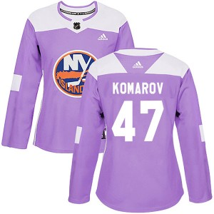Adidas Leo Komarov New York Islanders Women's Authentic Fights Cancer Practice Jersey - Purple