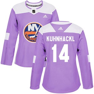 Adidas Tom Kuhnhackl New York Islanders Women's Authentic Fights Cancer Practice Jersey - Purple
