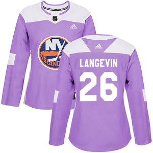 Adidas Dave Langevin New York Islanders Women's Authentic Fights Cancer Practice Jersey - Purple