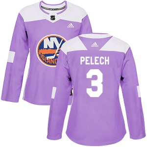 Adidas Adam Pelech New York Islanders Women's Authentic Fights Cancer Practice Jersey - Purple