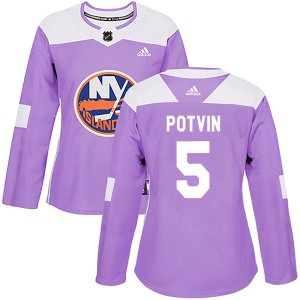 Adidas Denis Potvin New York Islanders Women's Authentic Fights Cancer Practice Jersey - Purple