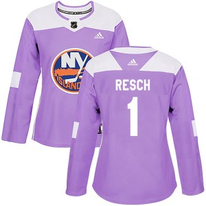 Adidas Glenn Resch New York Islanders Women's Authentic Fights Cancer Practice Jersey - Purple