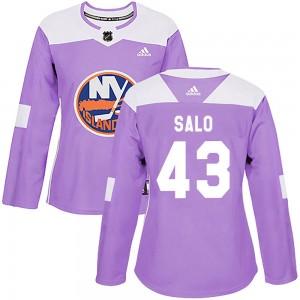 Adidas Robin Salo New York Islanders Women's Authentic Fights Cancer Practice Jersey - Purple
