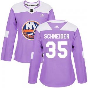 Adidas Cory Schneider New York Islanders Women's Authentic Fights Cancer Practice Jersey - Purple