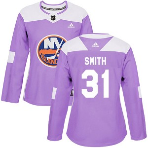 Adidas Billy Smith New York Islanders Women's Authentic Fights Cancer Practice Jersey - Purple