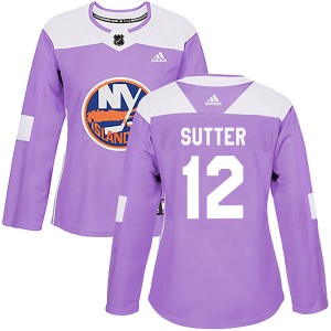 Adidas Duane Sutter New York Islanders Women's Authentic Fights Cancer Practice Jersey - Purple