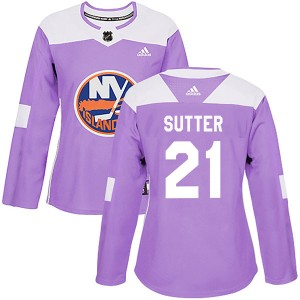 Adidas Brent Sutter New York Islanders Women's Authentic Fights Cancer Practice Jersey - Purple