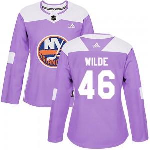 Adidas Bode Wilde New York Islanders Women's Authentic Fights Cancer Practice Jersey - Purple