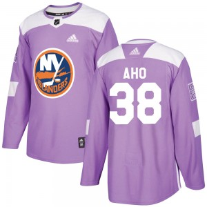 Adidas Sebastian Aho New York Islanders Men's Authentic ized Fights Cancer Practice Jersey - Purple