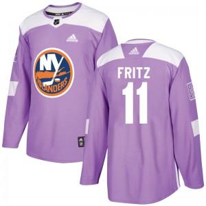 Adidas Tanner Fritz New York Islanders Men's Authentic Fights Cancer Practice Jersey - Purple