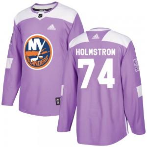 Adidas Simon Holmstrom New York Islanders Men's Authentic Fights Cancer Practice Jersey - Purple