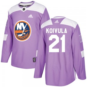 Adidas Otto Koivula New York Islanders Men's Authentic ized Fights Cancer Practice Jersey - Purple