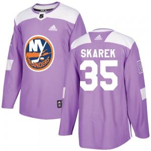 Adidas Jakub Skarek New York Islanders Men's Authentic Fights Cancer Practice Jersey - Purple