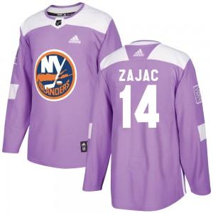Adidas Travis Zajac New York Islanders Men's Authentic Fights Cancer Practice Jersey - Purple