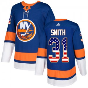 Adidas Billy Smith New York Islanders Youth Authentic USA Flag Fashion Jersey - Royal Blue