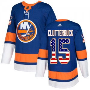 Adidas Cal Clutterbuck New York Islanders Youth Authentic USA Flag Fashion Jersey - Royal Blue