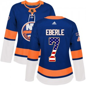 Adidas Jordan Eberle New York Islanders Women's Authentic USA Flag Fashion Jersey - Royal Blue