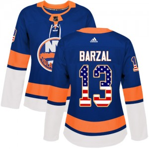 Adidas Mathew Barzal New York Islanders Women's Authentic USA Flag Fashion Jersey - Royal Blue