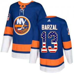 Adidas Mathew Barzal New York Islanders Youth Authentic USA Flag Fashion Jersey - Royal Blue