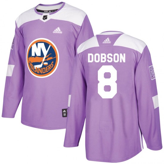 Adidas Noah Dobson New York Islanders Youth Authentic Fights Cancer Practice Jersey - Purple
