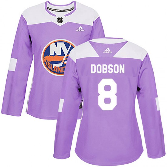 Adidas Noah Dobson New York Islanders Women's Authentic Fights Cancer Practice Jersey - Purple