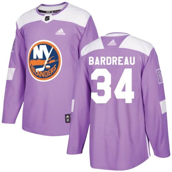 Adidas Cole Bardreau New York Islanders Men's Authentic Fights Cancer Practice Jersey - Purple